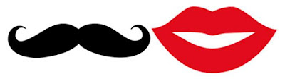 This is an image of a black mustache and a pair of bright red lips. They're drawings - not real.