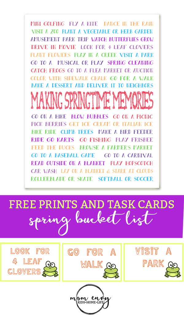 Spring Bucket List Free Printable Spring Bucket List And Task Cards