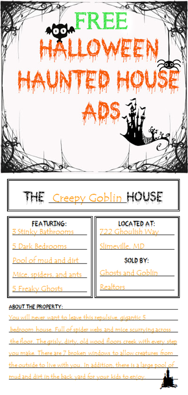 Free Halloween Haunted House Ads. Perfect easy lesson for Elementary school reading and Elementary school writing. Easy free Halloween worksheet for kids. Free Halloween lesson for kids. Free sub plans worksheet for the fall.