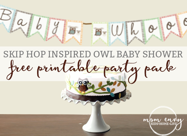 Free skiphop inspired owl baby shower pack for Baby shower decoration packs