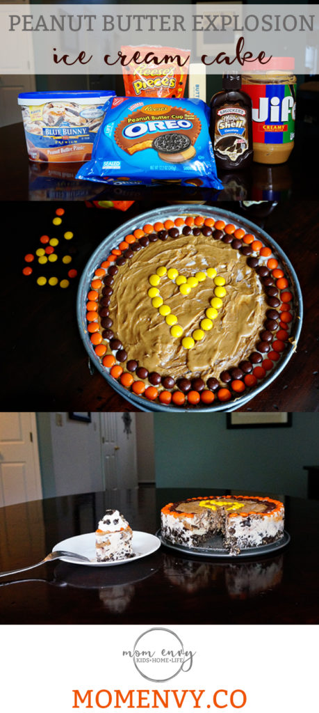 Peanut Butter Ice Cream Cake from Mom Envy. Easy recipe. Easy dessert recipe. Reeses recipe. Easy ice cream cake. Chocolate and reeses ice cream cake. Reeses ice cream cake. Reeses dessert. Easy ice cream cake.