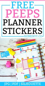FREE Peeps planner stickers. Download a set of FREE Peeps planner stickers that are perfect for Spring. Hand drawn peep characters. #happyplanner #erincondren #planneraddict #plannerstickers