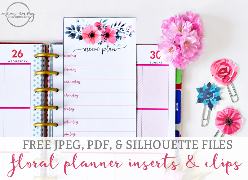 Free Printable Floral Planner Inserts and Clips