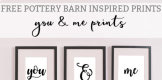 Free Pottery Barn Inspired Romantic Master Bedroom prints. You and Me prints are perfect for Valentine's Day, Anniversary gifts, engagement party gift, or wedding gift. This simple decor is perfect for a master bedroom. #masterbedroom #freeprintables #potterybarn