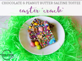 Chocolate and Peanut Butter Easter Crackers. It's a super easy and quick Easter dessert that's perfect for peanut butter cup lovers. Change up your boring coconut dessert this year and try these addicting peanut butter saltine crackers. They're a peanut butter version of Christmas crack. #dessert #Easter #EasterDessert