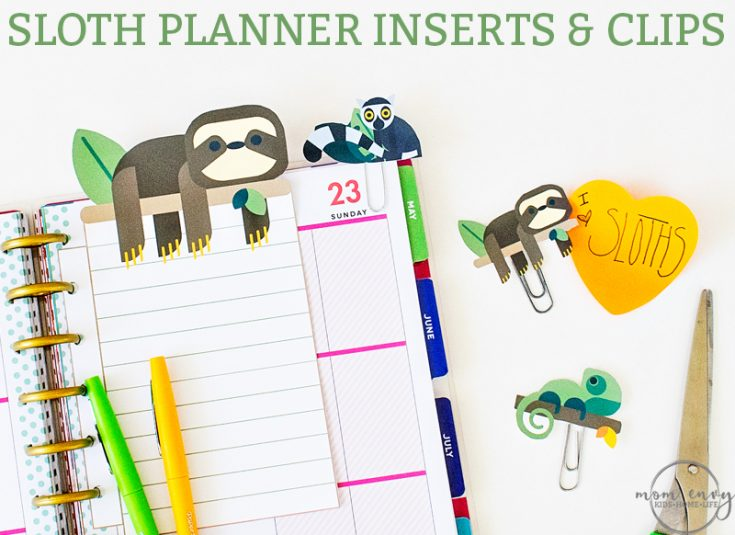 Free Sloth Planner Inserts and Clips Printables