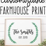Free farmhouse print. This adorable free established family sign is free to customize with your own last name and established year. It's full of fixer upper style. #farmhousedecor #farmhouse