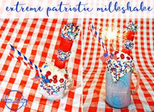 Memorial Day Milkshake. Extreme Patriotic Milkshake. Fourth of July Milkshake. Labor Day Milkshake. Red, white, and blue milkshake. Memorial Day dessert recipe. Fourth of July dessert recipe. Labor day dessert recipe. Red, White, and Blue recipe. Mom Envy.