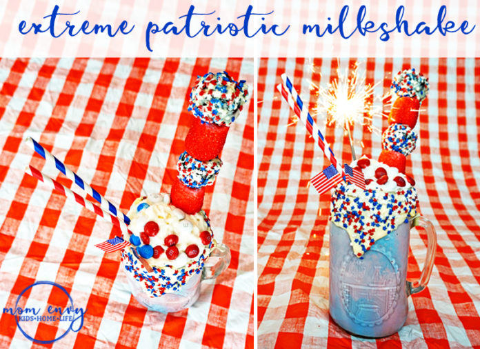 Come check out this Memorial Day Milkshake video to see how easyit is to make our own extreme patriotic dessert. This milkshake is a great dessert for Fourth of July, Memorial Day, Labor Day, or just because it's a Tuesday. Mom Envy.