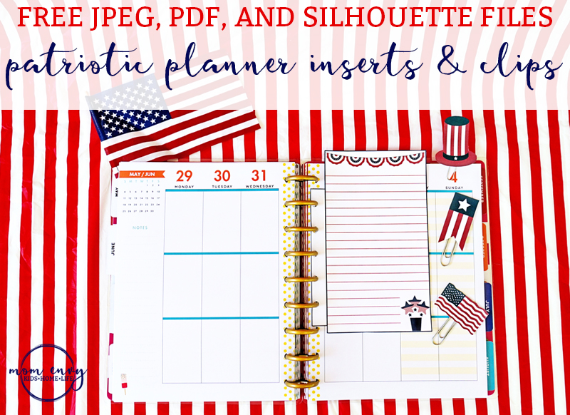 Patriotic Planner Inserts and Clips from Mom Envy. Free Memorial Day planner inserts. Free Fourth of July planner inserts. Free Labor Day planner inserts. Free patriotic planner clips. Free red, white, and blue planner printables.