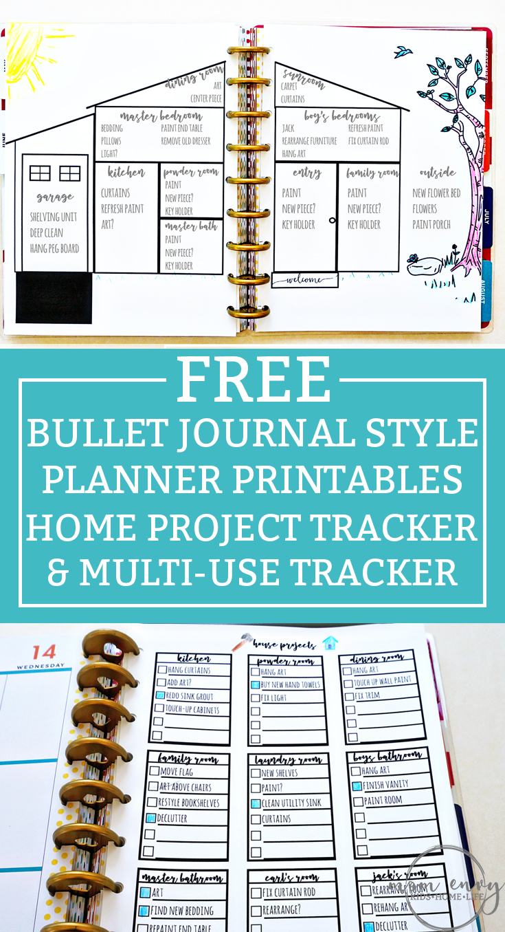 Bullet Journal Printables from Mom Envy. House projects bullet journal printable and a free task sheet printable. Available in A5 size, Standard letter size, and Happy Planners. #planneraddict #bujo #bulletjournal