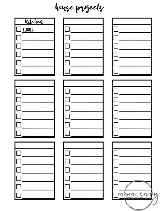 Bullet Journal Printables. Download this set of FREE bullet journal printables for tracking house projects or chores. This is one of the sets included. It's a coloring page so that you can customize it with the colors of your choice. #bulletjournal #bujo #freeprintables #planneraddict