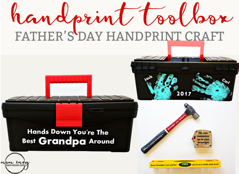 Father's Day Handprint Toolbox Craft - with Matching Tools