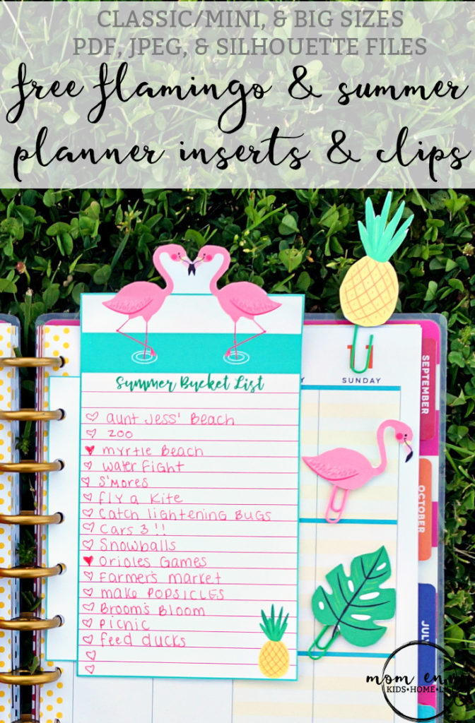 Flamingo and Summer Planner Inserts and Clips - Free Printables