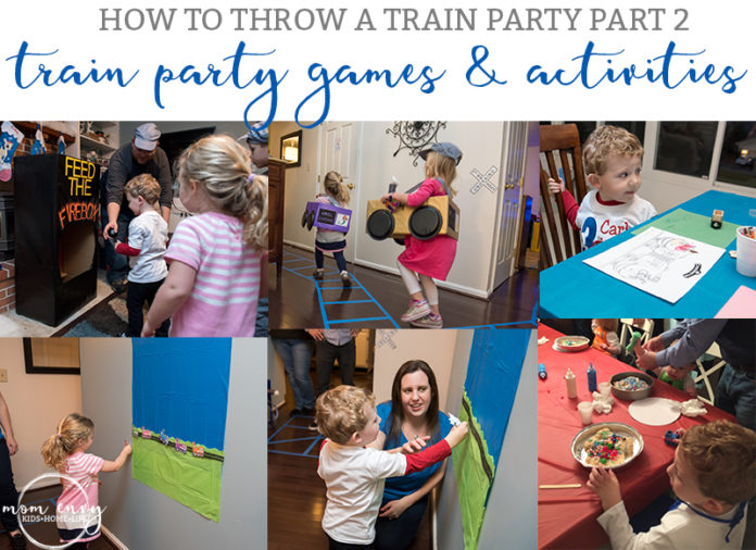 Train Party Games - from Mom Envy. Train Themed Birthday Party Ideas from https://momenvy.co. Thomas the Tank Engine birthday party ideas. Train party. Thomas party. Get some awesome ideas about how to throw a train party that your kid's friends will love!