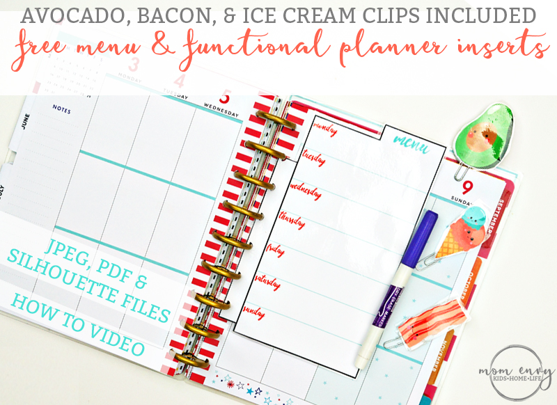 Free Planner Inserts and Planner Clips. Free cute food planner clips. Avocado, Bacon, and Ice Cream planner clips. To do planner insert. Menu planner insert. Shopping list planner insert.