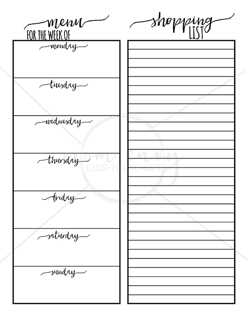 Meal Planning Printables - Free Family Binder Printables
