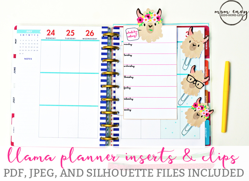 graphic about Mom Planner Printable titled Totally free Llama Planner Inserts Planner Clips - Free of charge Planner