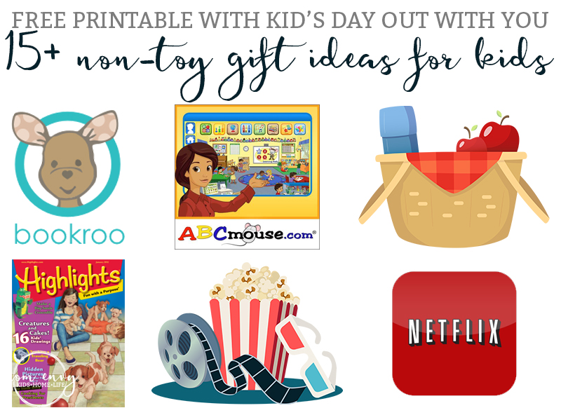 15+ Non-Toy Gift Ideas for Kids - Including a FREE printable list of Kid's Day Out with YOU box ideas. Are you sick of all of the clutter? Would you like to give a unique gift that makes both the parents and kid happy? Then check out this list of gifts that aren't toys from Mom Envy.