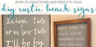 DIY Beach Signs. Free rustic beach sign SVGs available. Beach nursery decor. Beach decor. Beach signs. Free SVG files. High Tide and Low tide Sign. Beach Baby Sign. from: https://momenvy.co