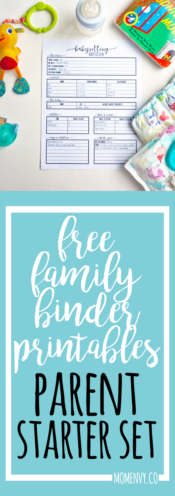 download the free parent starter kit today free daycare forms babysitter forms emergency