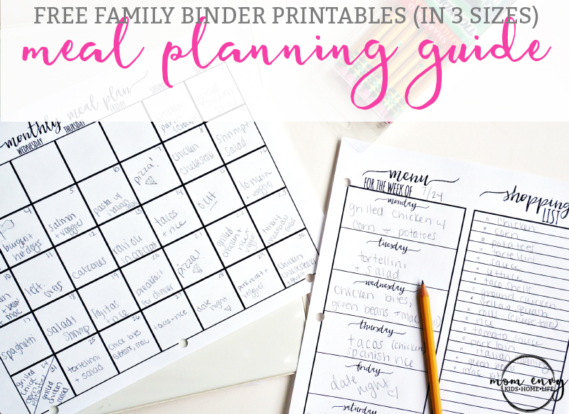 The Ultimate Guide to Meal Planning. Get free family binder printables. Free printables for the Happy Planner. Free planner printables. Free printables. Family Binder download. Menu planning. From: https://momenvy.co
