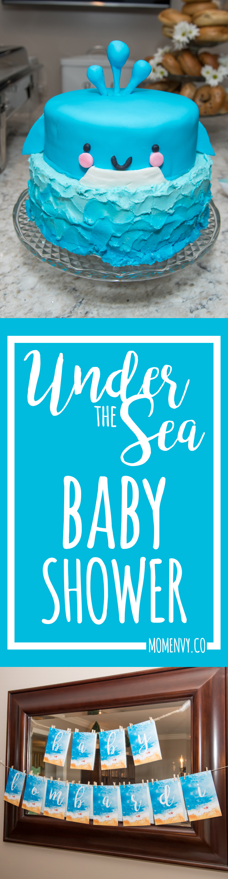 Under the Sea Baby Shower. Check out the details of this beach themed baby shower. Lots of beachy shower ideas. Beach themed party favors. Bhower recipe ideas. Easy brunch ideas. Whale cake. from https://momenvy.co