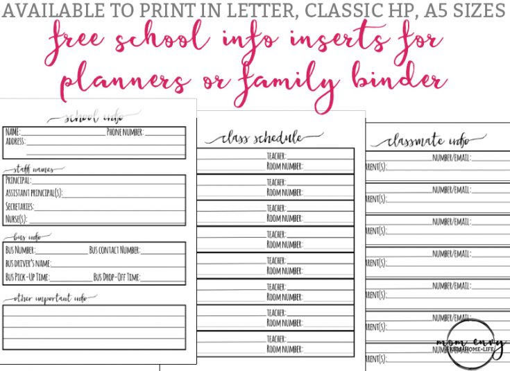 School Information Sheet & School Planner Printables