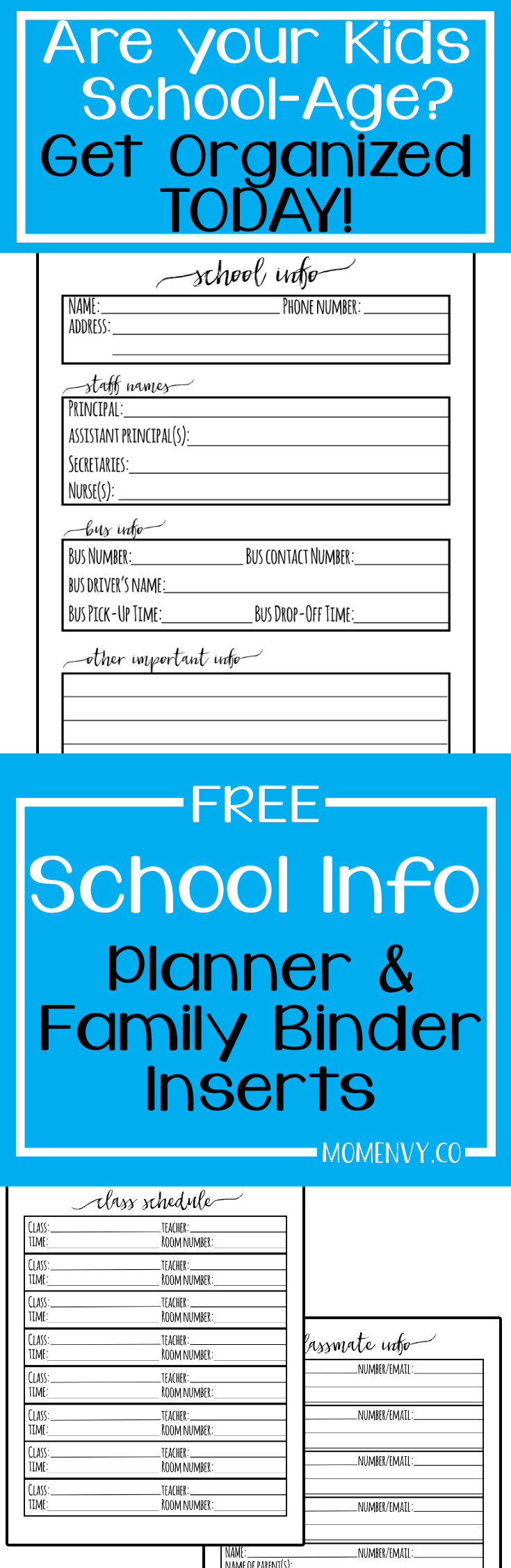 image about Printable Binder Inserts identify Faculty Planner Inserts - No cost Planner and Spouse and children Binder
