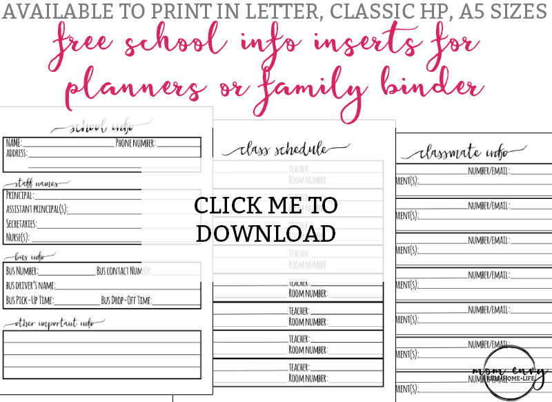 School Planner Inserts - Free Planner and Family Binder Inserts for School. Free family binder printables. Free planner inserts. Free Happy Planner inserts. Free A5 printables. Free school printables for parents.