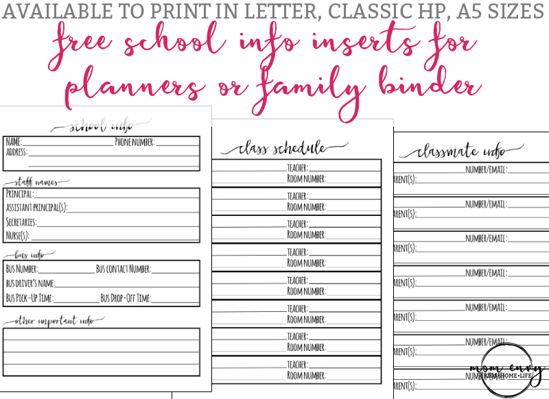 graphic about Printable Binder Inserts named Faculty Planner Inserts - Totally free Planner and Family members Binder