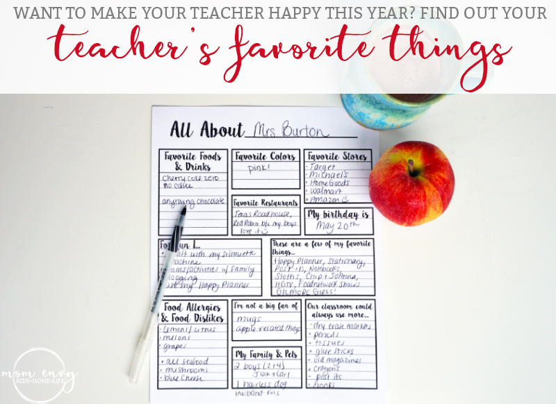 image about Teacher Favorite Things Printable called Relating to the Instructor - Totally free Printable for Moms and dads towards Choose in the direction of