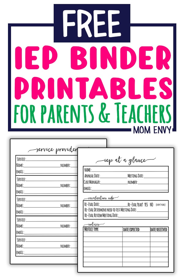 graphic regarding Teacher Binder Printables named IEP Binder - Cost-free Exceptional Training Planner Inserts