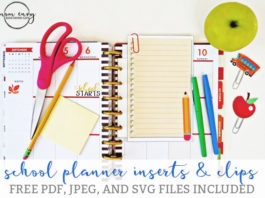 Free school planner inserts and planner clips. Download Free SVG, PDF, and JPEG files. Free Silhouette Planner inserts. Free Cricut planner accessories. Free Happy Planner Inserts.