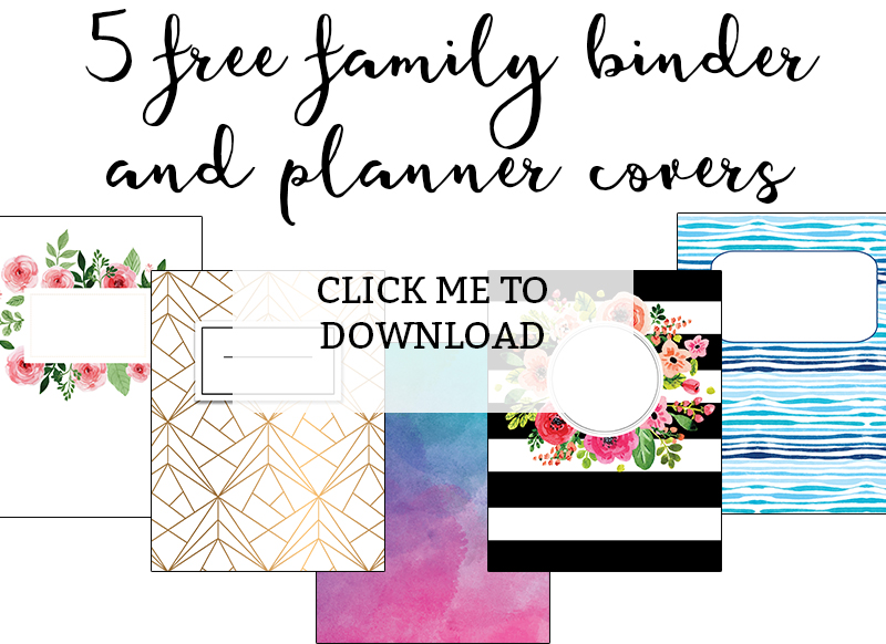 Printable Binder Covers - Download 5 Cute Binder Covers for Free! There is sure to be a printable binder cover to match your personality. They work great as free planner covers - they were designed originally as Happy Planner covers. #planneraddict #familybinder #freeprintables #organization