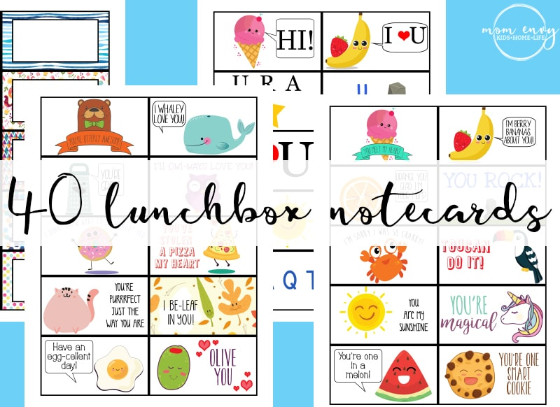 image about Printable Notecard referred to as Free of charge Lunchbox Notes - 40 No cost Printable Lunch Notecards