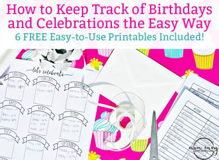 Bullet Journal Birthday Tracker - Free Birthday Planner Printable