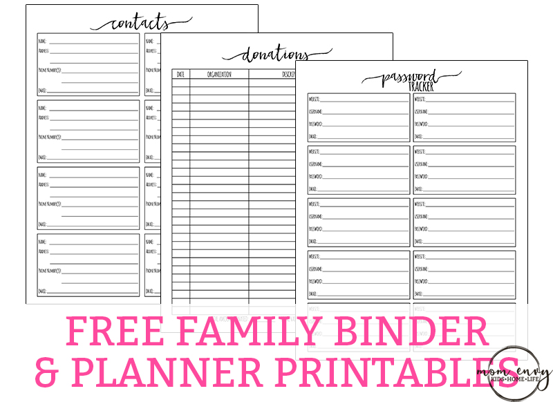 Free Family Binder Printables. Download free family binder printables to help get you get organized. Free planner printables for Moms. Over 30+ free printable pages.