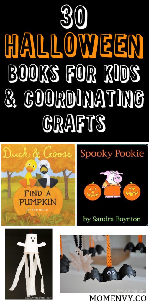 30 Halloween books for kids and coordinating crafts. Part 1 of 30 great books for kids for Halloween and crafts for kids. Fun Halloween activities for kids. Kid-Friendly Halloween stories that aren't spooky. Halloween Crafts for kids. Halloween kids crafts for kids. Halloween kid's books.