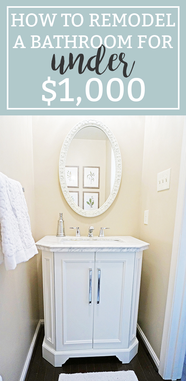 Inexpensive Bathroom Remodel. Find out how we inexpensively made over our bathroom for less than $1,000. It was a cheap bathroom makeover. Download free botanical prints. Fixer Upper inspired free prints. From Mom Envy.