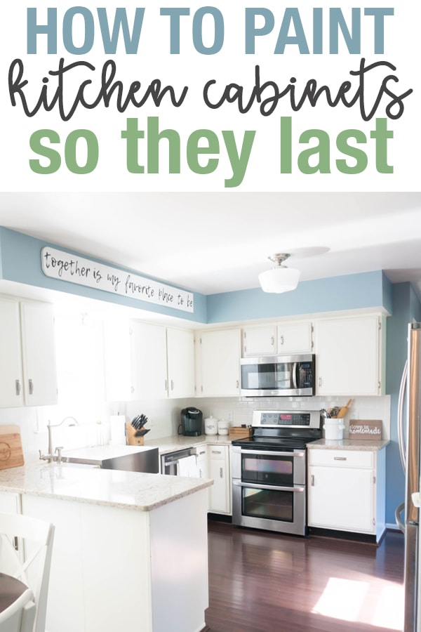 Learn how to paint kitchen cabinets so they last. Learn the best type of paint for kitchen cabinets. Our cabinets still look amazing after 8 years! #kitchen #diykitchen