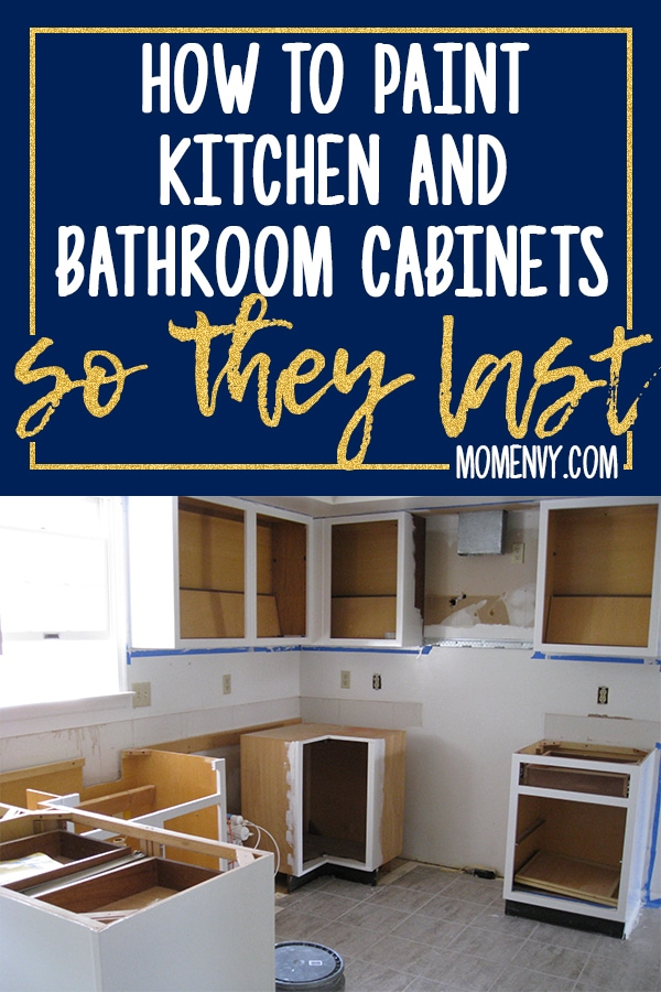 See how to paint kitchen cabinets so they last. Don't deal with chipping chalk paint. Learn the method that has proven to work. After 8 years, our cabinets still look new! #diy #diykitchen #kitchenremodel