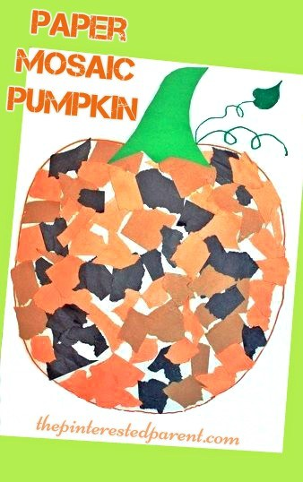 Paper Mosaic Pumpkin Craft Fun Fall Autumn Crafts For Kids Halloween