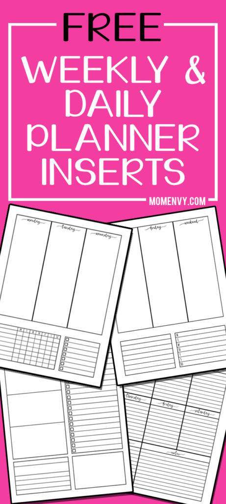 Weekly Planner Printable and Daily Planner Printable. Download free Happy Planner inserts, free family binder inserts, and free A5 planner inserts. They can now be used for any size planner. Craft your own planner, today! #plannerlover #weeklyplanner