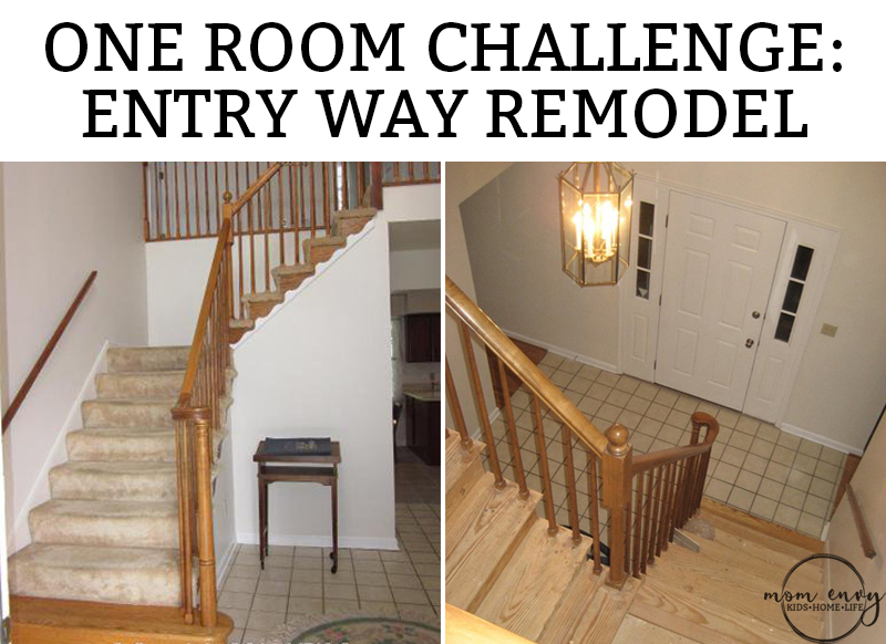 Entry Way Remodel. This 1980's foyer is remodeled in a one room challenge into a traditional farmhouse style entry. Farmhouse foyer. One Room Challenge. #entry #foyer