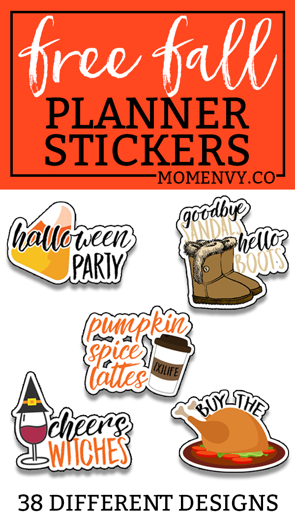 Free Fall Planner Stickers. 38 different free fall planner stickers. Free Fall Silhouette file. Free fall SVG file. Free planner stickers. Free fall printable.