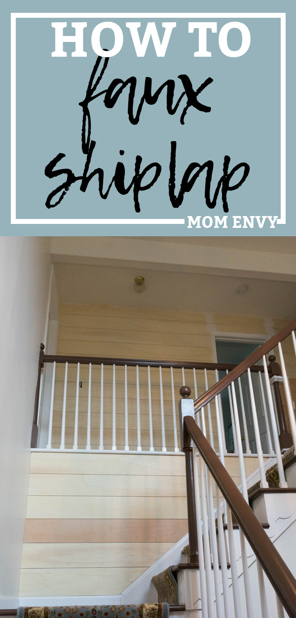 How to Install Faux Shiplap. Learn the easy and cheap way to put up shiplap. It doesn't have to be hard and it definitely doesn't have to be expensive. This was such an inexpensive farmhouse project. See how we put it in our 2-story foyer! #shiplap #farmhouse #fixerupper