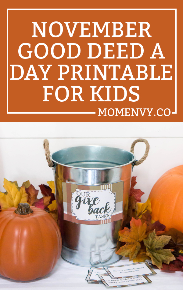 November Good Deeds. Print this free activity for kids at home or at school. Perfect Fall activity for school. Thanksgiving writing extensions worksheets included. Free printable fall activity.