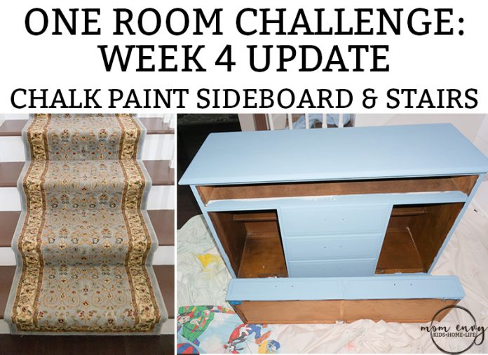 One Room Challenge Week 4 Update of the Entry. Entry remodel. How to Chalkpaint a dresser. How to refinish carpeted stairs. #DIY #oneroomchallenge #chalkpaint #remodeling