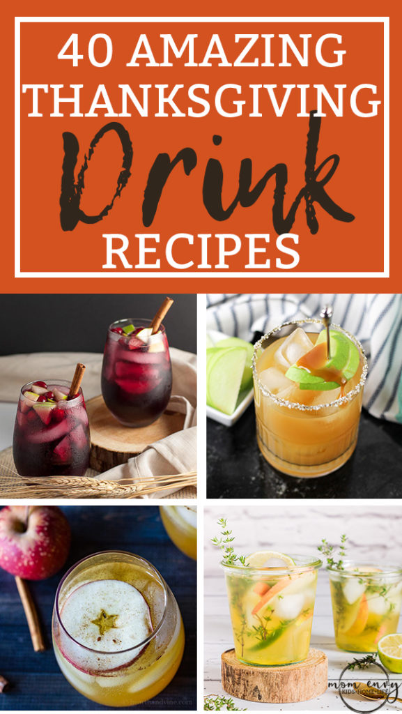 40 Thanksgiving Drink Recipes. Alcoholic and nonalcoholic options. They're the perfect fall drink recipes for your Thanksgiving. Fall in love with some fall cocktails. #thanksgiving #thanksgivingrecipes #drinkrecipes #drinkrecipe